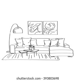 Hand drawn sketch of modern living room interior with a couch and a lot of pillows, designers lamp and small coffee table.