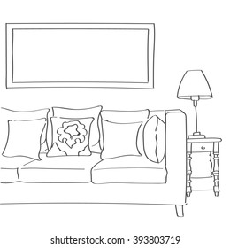 Hand drawn sketch of modern living room interior with a couch, pillows and a lamp.
