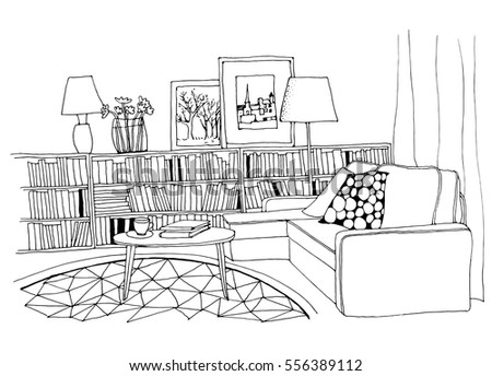 Hand Drawn Sketch Of Modern Living Room Interior With A Sofa Pillows Small Coffee