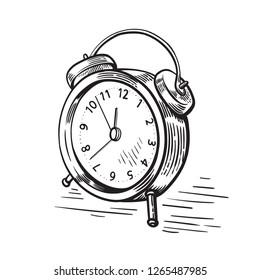 hand drawn sketch modern old alarm clock vector illstration