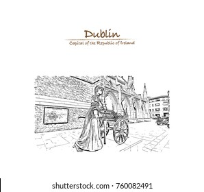 Hand drawn sketch of the Molly Malone statue in Grafton Street, is a popular song, set in Dublin, Ireland in vector illustration.