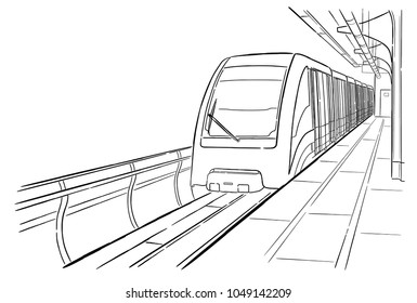 Hand drawn sketch Moscow light metro station