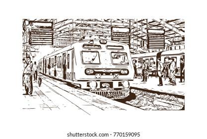 Hand drawn sketch of Mumbai Local train, Mumbai, India in vector illustration.