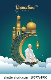 Hand drawn sketch of Muslim man praying with calligraphy of Eid Mubarak illustration. 3d crescent and mosque background.