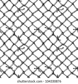 Hand drawn sketch of net. Fishnet. Vector background. Seamless pattern