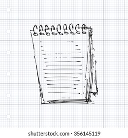 Hand drawn sketch of a note pad