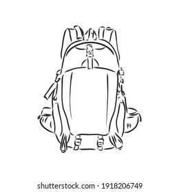 Hand drawn sketch outline backpack set isolated on white background. travel backpack, vector sketch on a white background