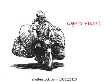 Hand drawn sketch of overloaded motorbike in southeast asian style and text SAFETY FIRST, Vector illustration isolated