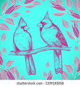 Hand drawn sketch a pair of birds. Beautiful pair of Red Cardinals on a branch in foliage.  illustration