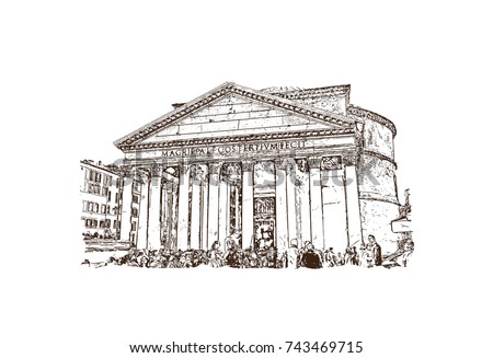 Hand Drawn Sketch Pantheon Former Roman Stock Vector Royalty Free