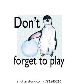 Hand drawn sketch of penguin on blue rectangle with text. Layered vector illustration.