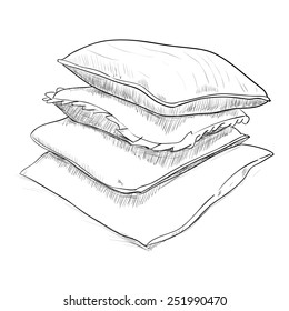 Hand drawn sketch of pillows. Vector illustration