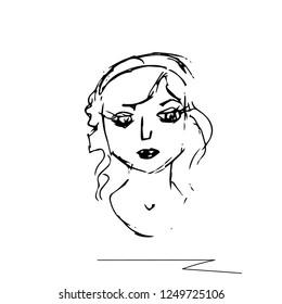 Hand drawn. Sketch. Portrait of a beautiful girl.