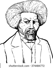 Hand drawn sketch portrait of famous African American leader named Frederick Douglass