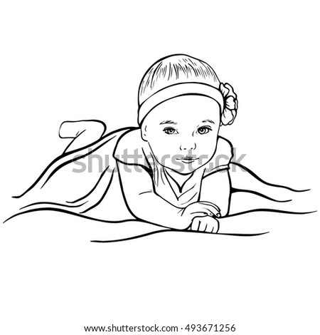 Hand Drawn Sketch Portrait Pretty Baby Stock Vector Royalty Free