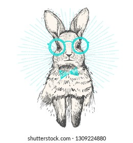 Hand drawn sketch Rabbit. Hipster rabbit, vintage hare or bunny drawing with glasses and bow tie. Portrait of rabbit