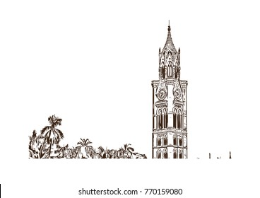 Hand drawn sketch of Rajabai Clock Tower, Mumbai, India in vector illustration.