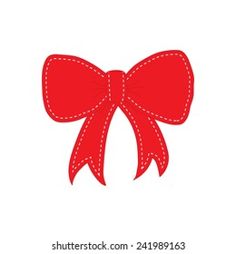 Hand drawn sketch of red festive bow with white quilting on the border. Vector illustration.