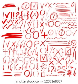 Hand drawn sketch red signs, icons, arrows, lines, handwritten design elements set isolated on white background