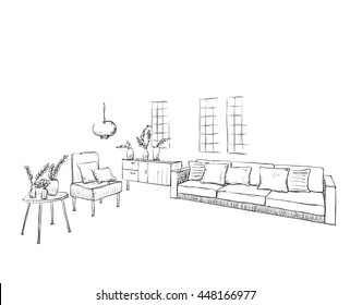 Hand drawn sketch of room interior