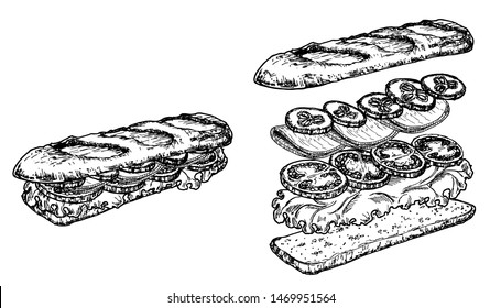 Hand drawn sketch sandwiches set. Submarine type sandwiches with lettuce leaves, salami, cheese, bacon, ham and veggies. Top and perspective view. Sandwich constructor. Flying ingredients. Fast food.