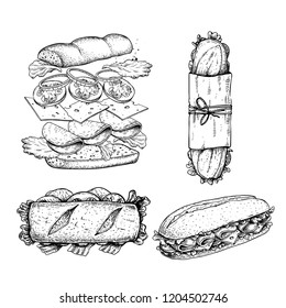 Hand drawn sketch sanwiches set. Submarine type sandwiches with lettuce leaves, salami, cheese, bacon, ham and veggies. Top and perspective view. Sandwich constructor. Flying ingredients. Fast food.
