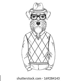 Hand Drawn  sketch of Schnauzer Hipster isolated on white
