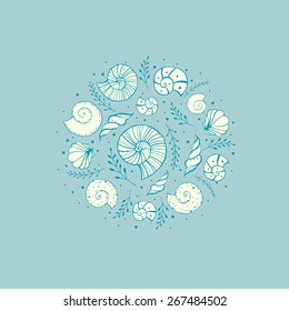 Hand drawn sketch sea shells and ammonites. Vector abstract illustrations