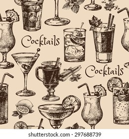 Hand drawn sketch seamless pattern of alcoholic cocktails. Vector illustration