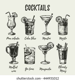Hand drawn sketch set of alcoholic cocktails. Vintage vector illustration