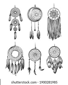 Hand drawn sketch set of Amulet of the Dream catcher on a white background. Dream catcher amulet. Spider. amulet for good dreams