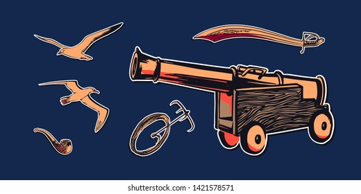 Hand drawn sketch set illustration with antique ship pirate cannon, sword, boarding or grappling hook with rope, smoke pipe, albatross and sea gull flying. Vector drawing pirate accessories.