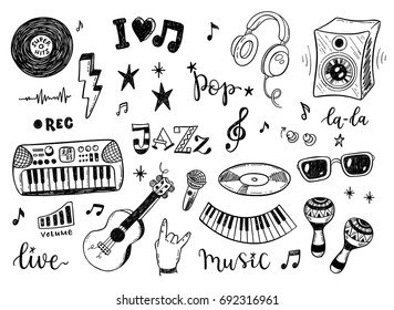 Hand drawn sketch set of music culture doodles, instruments, notes, signs and symbols