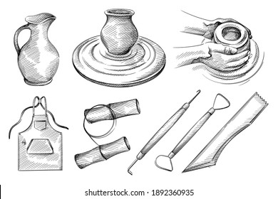 Hand drawn sketch set of pottery, ceramics tools. Pottery jug, hands doing pottery, jug on pottery wheel, apron, clay cutting, clay string, needle tool for ceramics, clay loop, wood modelling tool