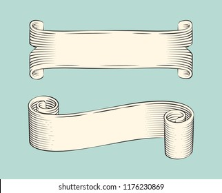 Hand drawn sketch set of ribbons vector icons. Monochrome stripes, scroll and swirl strings, with ragged edges, line art outline style, banner design