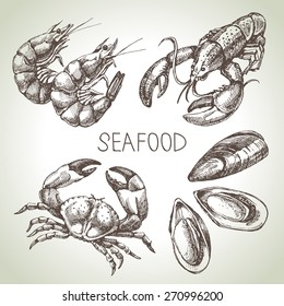 Hand drawn sketch set of seafood. Vector illustration