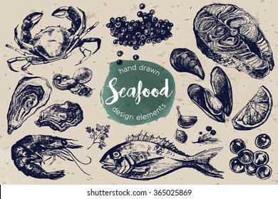 Hand Drawn Sketch Set of Seafood. Vector illustration. Including crab, red and black caviar, oyster, mussel, shrimp, salmon steak and dorado