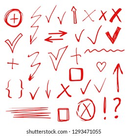 Hand drawn sketch signs, arrows, check marks. Design elements set isolated on white background