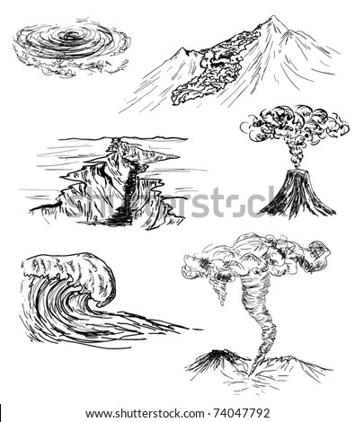 hand drawn sketch six natural disasters stock vector royalty free