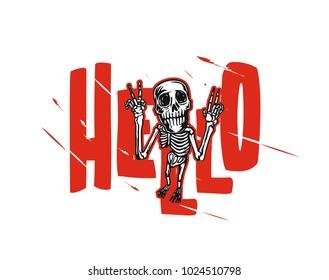 Hand drawn sketch of skeleton, posing, t shirt print, vector illustration