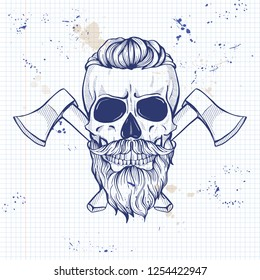 Hand drawn sketch, skull with axes, glasses, mustaches and beard on a notebook page