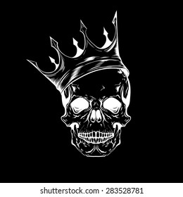 Hand drawn sketch skull with crown. Tattoo line art. Vintage vector illustration isolated on black background.