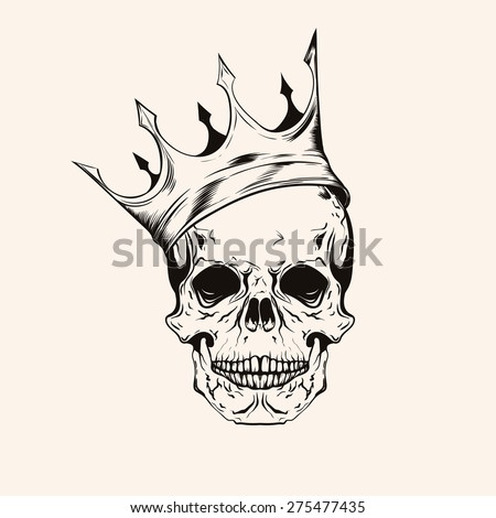 Hand Drawn Sketch Skull Crown Tattoo Stock Vector Royalty Free