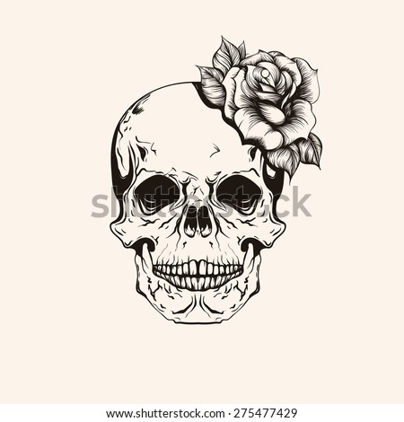 Hand Drawn Sketch Skull Rose Tattoo Stock Vector Royalty Free