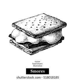 Hand drawn sketch smores wafer crackers with melted marshmallows and chocolate. Vector black and white vintage illustration. Isolated object on white background. Menu design