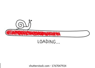Hand drawn sketch snail with progress loading bar in doodle style. Slow internet concept. Vector illustration on white background.