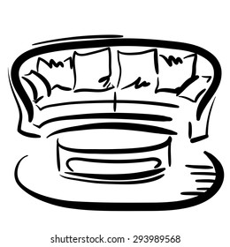 Hand drawn sketch with soft modern couch with pillows and coffee table on the white background.