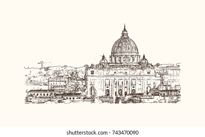 Hand drawn sketch of St. Peter's Square is a large plaza located directly in front of St. Peter's Basilica in the Vatican City, the papal enclave inside Rome, Italy in vector illustration.