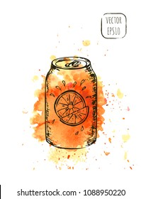 Hand drawn sketch street beverage print with light watercolor texture on background. Soda or juice in a can illustration for t-shirt, cafe menu or wallpaper.