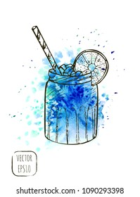 Hand drawn sketch street beverage print with light watercolor texture on background. Fast food illustration for t-shirt, cafe menu or wallpaper. Takeaway beverages.